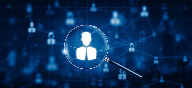 Emprego, recrutamento de gestão de rh e conceito de headhunting oficial à procura de funcionário