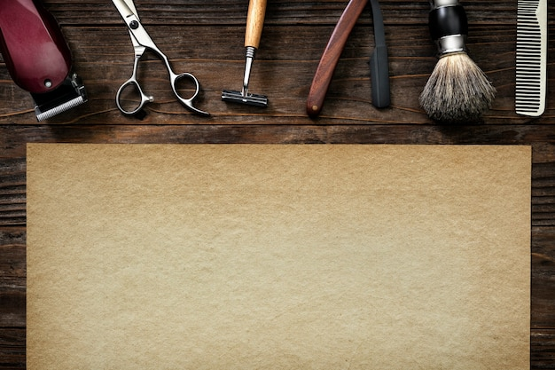 Empregos em papel de barbeiro vintage e conceito de carreira