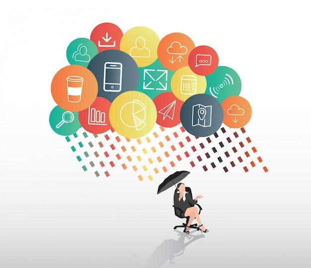 Empresária, abrigando da nuvem de app
