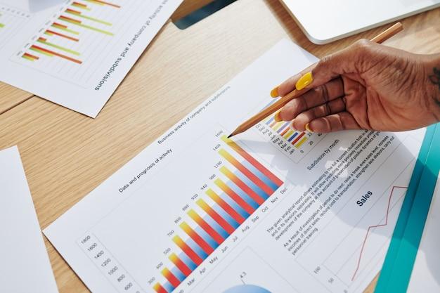 Empresária apontando para relatório