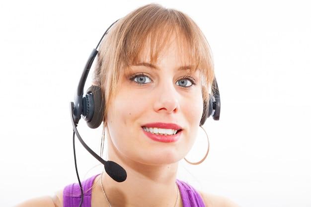 Empresária de operador de centro de chamada
