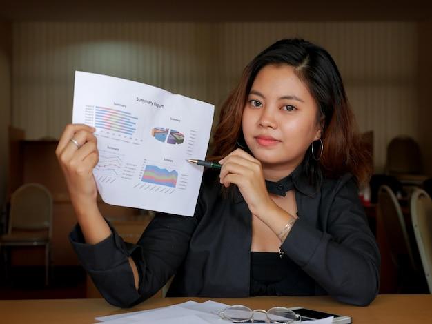 Empresária em suite apresentar relatório financeiro no seu local de trabalho