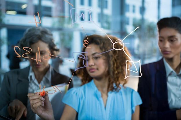 Empresária, escrevendo com marcador no vidro