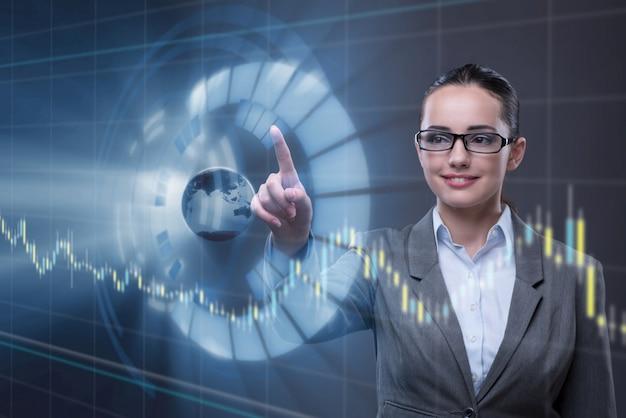 Empresária no conceito global de negócios