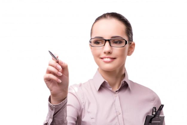 Empresária, pressionando o botão virtual isolado no branco