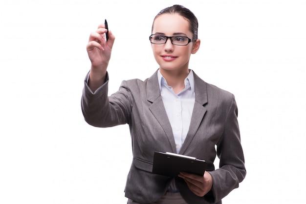 Empresária, pressionando o botão virtual no conceito de negócio