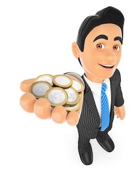 Empresário 3d com moedas de euro