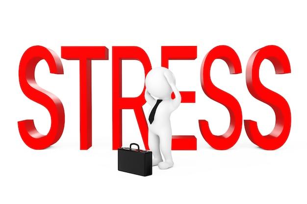 Empresário 3d deprimido perto de sinal de estresse em um fundo branco. renderização 3d.