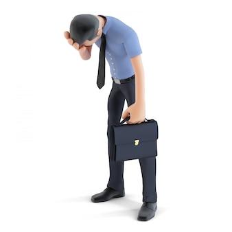 Empresário 3d em depressão com a mão na testa. solated. contém caminho de recorte