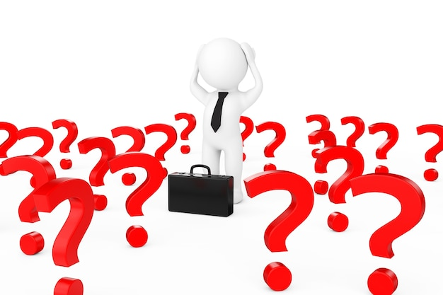 Empresário 3d estressado no centro de muitos pontos de interrogação em um fundo branco. renderização 3d.