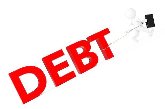 Empresário 3d executado de sinal de dívida em um fundo branco. renderização 3d.
