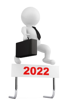 Empresário 3d saltar sobre a barreira do ano de 2022 em um fundo branco. renderização 3d