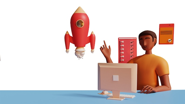 Empresário 3d trabalhando na área de trabalho com o lançamento de um projeto de sucesso de foguete em fundo branco e azul.