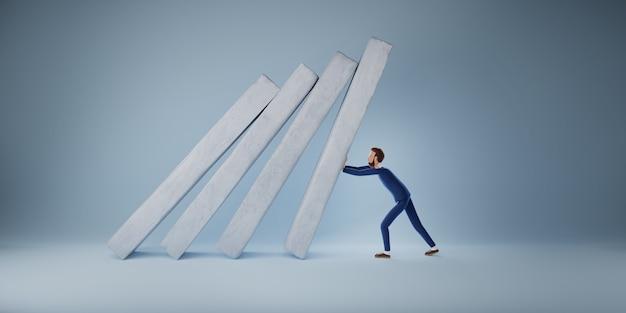 Empresário ajuda a empurrar o gráfico de barras caindo em colapso econômico. conceito de sobrevivência do negócio. ilustração 3d
