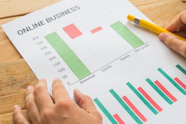 Empresário analisando informações financeiras como gráficos
