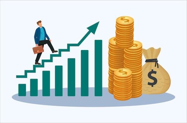Empresário andando em ilustração vetorial de ícone de escada de diagrama gráfico de aumento