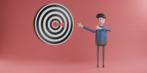 Empresário aponta o dedo para setas vermelhas que atingem o alvo central