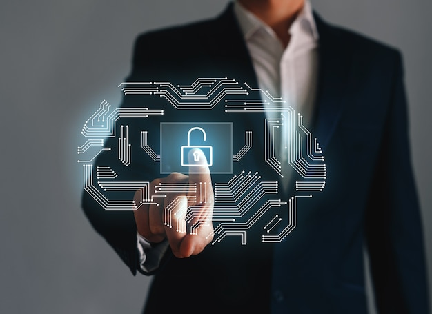 Empresário apontando ou tocando o símbolo do ícone de chave. conceito de desbloquear negócios.