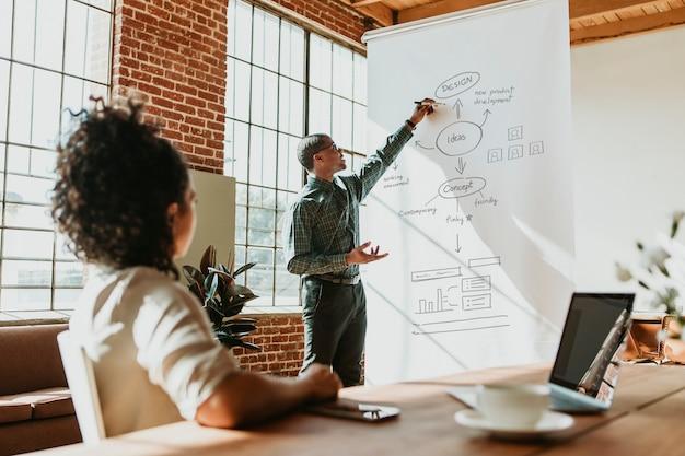 Empresário apresentando-se em reunião