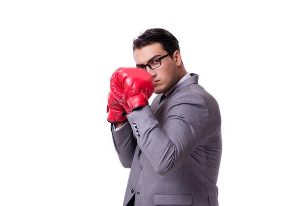 Empresário boxe isolado no fundo branco