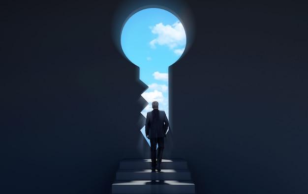 Empresário, caminhando para porta-chave para nova oportunidade