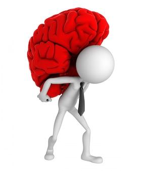 Empresário, carregando o cérebro nos ombros