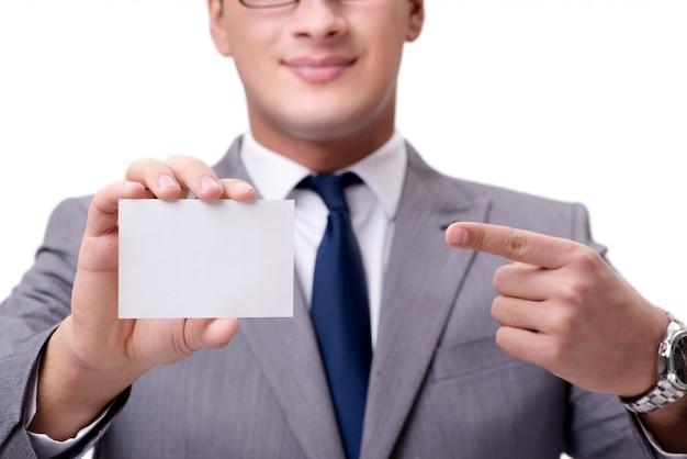 Empresário com cartão em branco, isolado no branco
