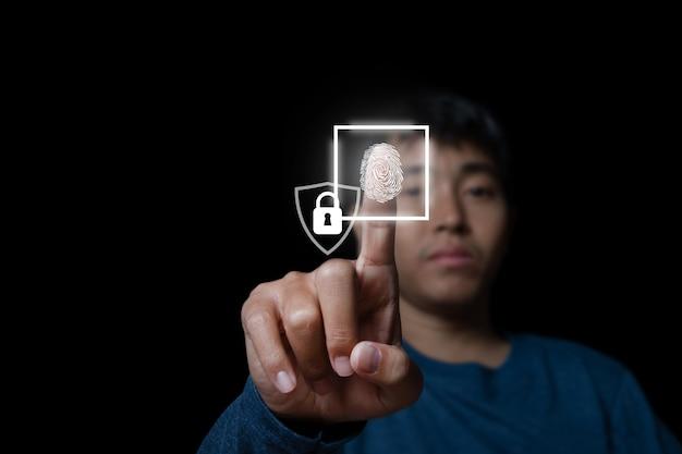 Empresário com digitalização de impressão digital de tecnologia oferece segurança. rede de conexão. conceito de segurança de tecnologia de negócios e conceito de comunicação empresarial.