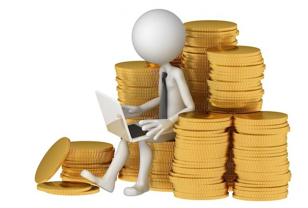 Empresário com laptop sentado na pilha de moedas. conceito de comércio eletrônico.