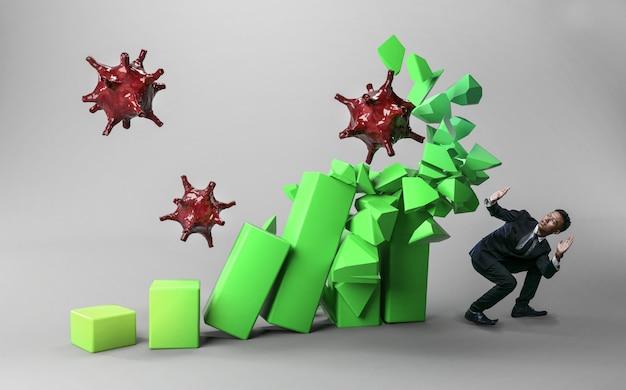 Empresário com medo de coronavírus. estatística 3d verde demolida por vírus. o coronavírus destrói o conceito econômico.