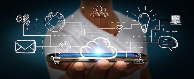 Empresário, conectando a mão desenhada ícones multimídia