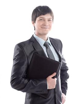 Empresário confiante com prancheta