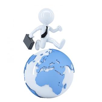 Empresário correndo ao redor de um globo.