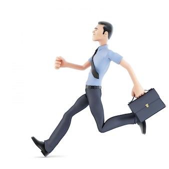 Empresário correndo com maleta. isolado, contém o traçado de recorte