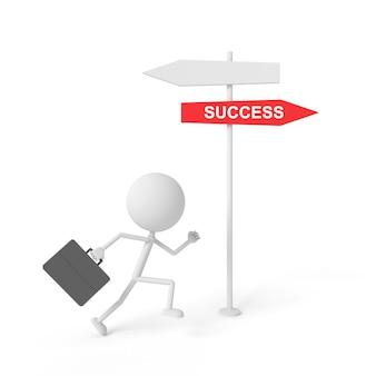 Empresário, correndo para o post de guia de sucesso. renderização em 3d.