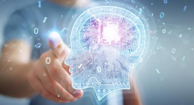 Empresário, criando inteligência artificial renderização em 3d