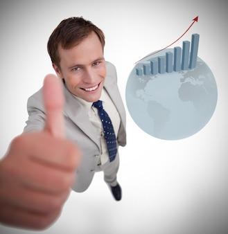 Empresário dando polegar para cima
