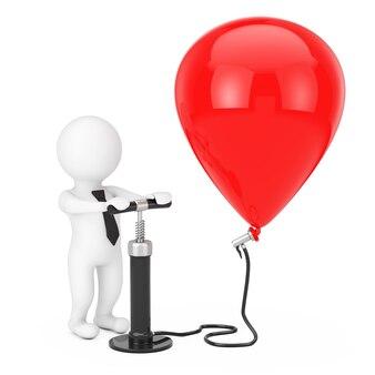 Empresário de pessoa 3d com bomba de ar de mão negra infla o balão vermelho em um fundo branco. renderização 3d