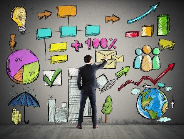 Empresário desenha plano e projeto de análise de negócios