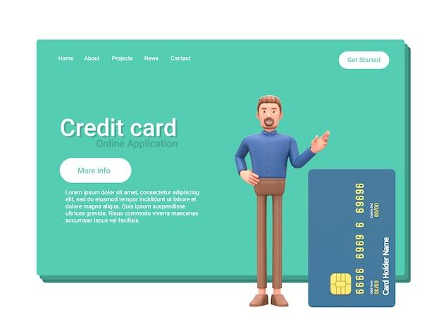 Empresário dos desenhos animados com cartão de crédito.