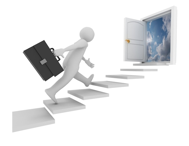 Empresário e porta para o céu. ilustração 3d renderizada