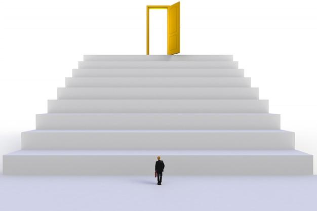 Empresário em miniatura na frente de porta amarela aberta