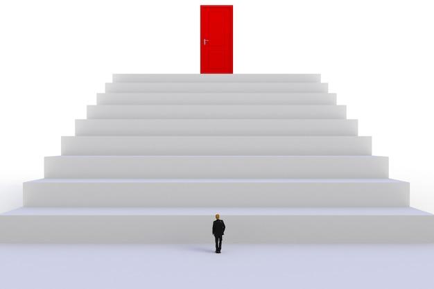 Empresário em miniatura na frente de porta vermelha em fundo de parede branca