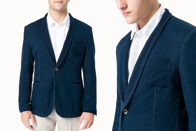 Empresário em terno marinho para vestuário masculino