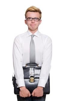 Empresário engraçado isolado no branco