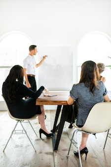 Empresário escrevendo em um quadro na sala de reuniões