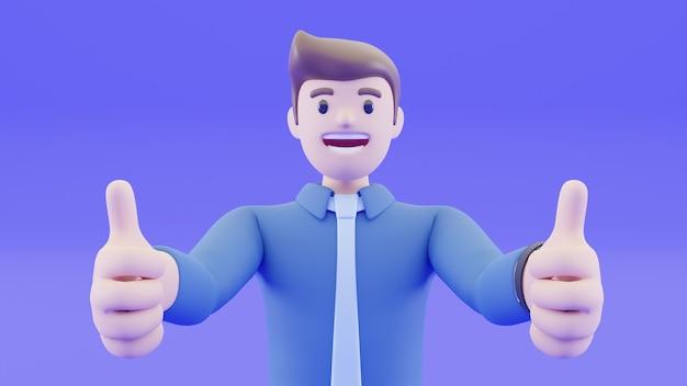 Empresário está sorrindo e levantou a mão para fazer o polegar para cima. parabéns e alegre com o sucesso de sua carreira. conceito de sucesso de pessoas no conceito de renderização 3d.