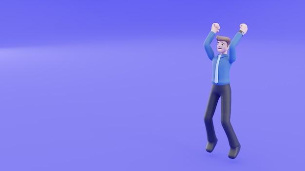 Empresário está sorrindo, pulando e erguendo a mão no ar. parabéns e alegre com o sucesso de sua carreira. conceito de sucesso de pessoas no conceito de renderização 3d.