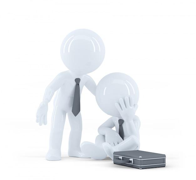 Empresário fornece suporte para um colega. problemas no conceito de trabalho