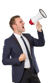 Empresário gritando no megafone